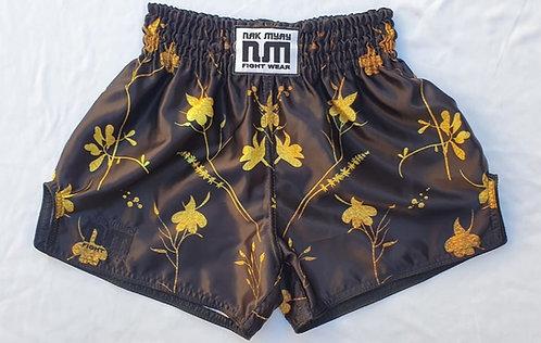 Black Floral Alloy Muay Thai Shorts