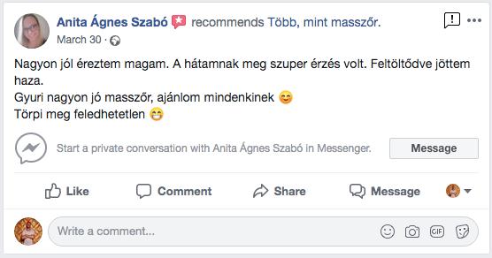 Több Mint Masszőr vélemény Szabó Anita Ágnes