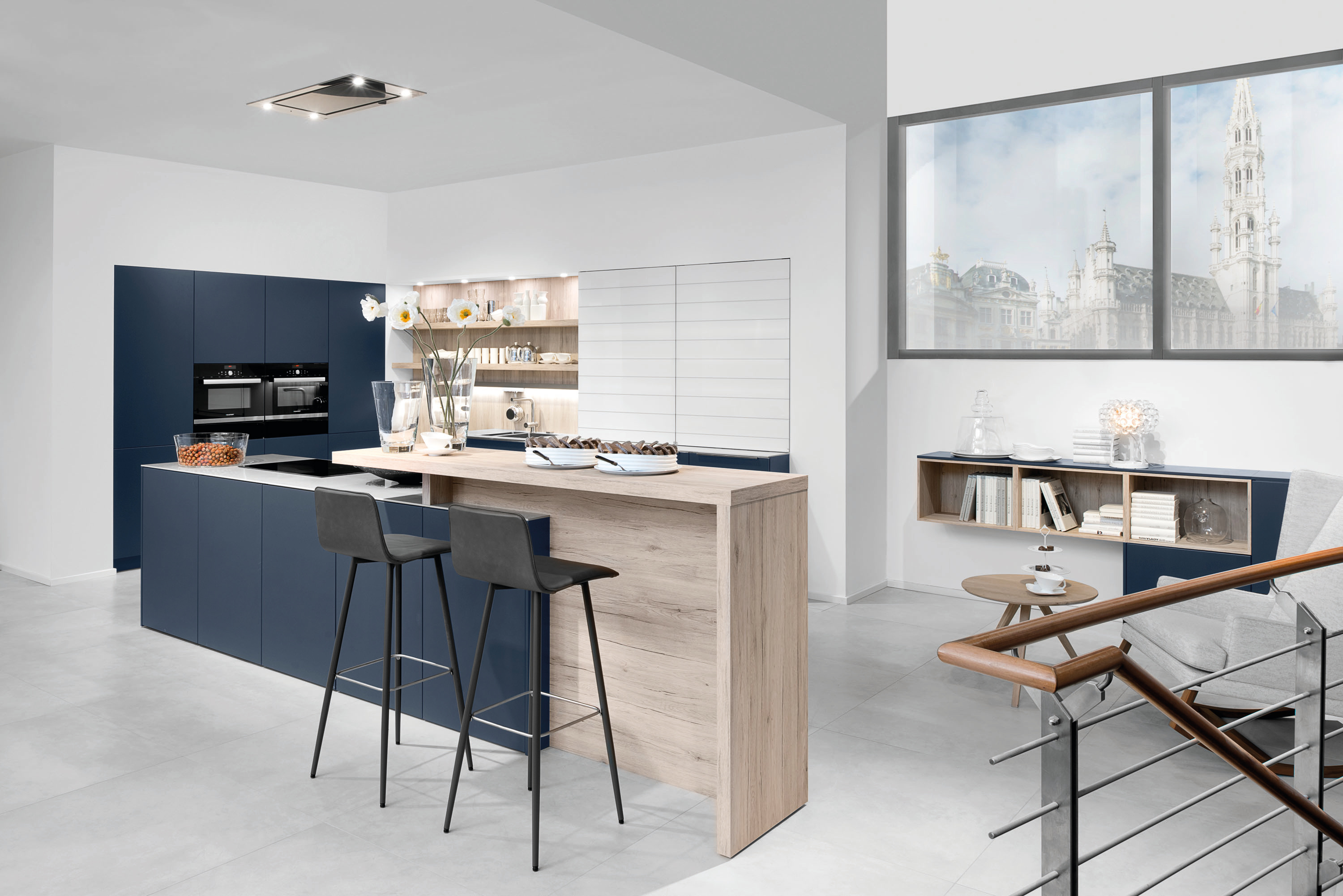 Cornflower Blue Kitchen. Kitchen Steel Stovetop Simple White Doors ...