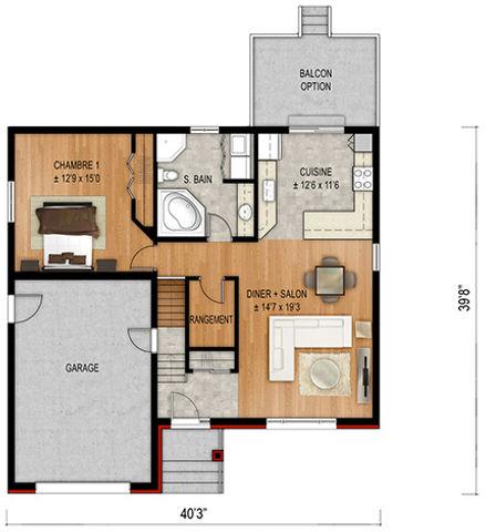 Maisons Rubix Pivoine floorplan, maisons usinées, prefab homes, modular homes