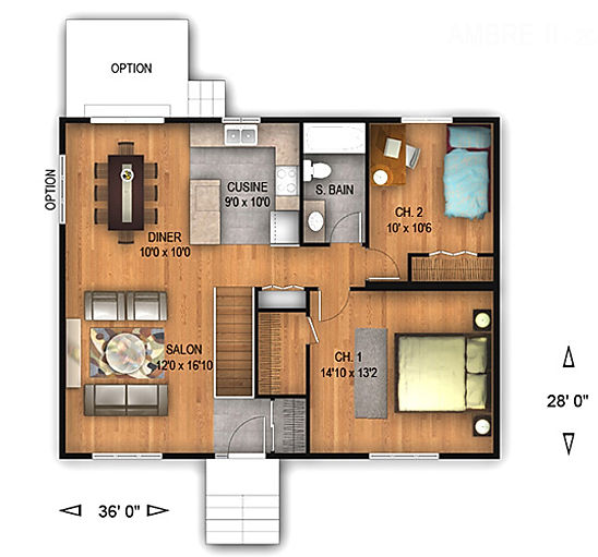 Maisons Rubix Ambre II Floorplan, maisons usinées, prefab homes, modular homes
