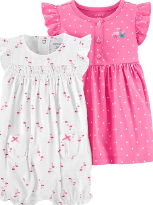 Set de 3 Piezas VestidoPuntos y Jumper Flamingo