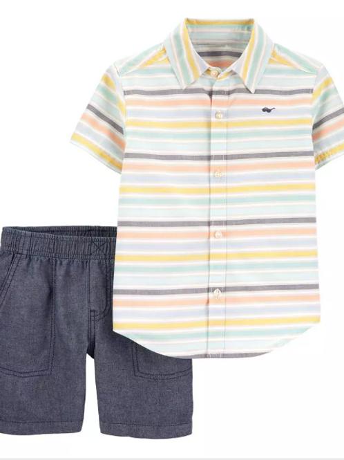 Set de 2 Piezas Short y Camisa de Rayas
