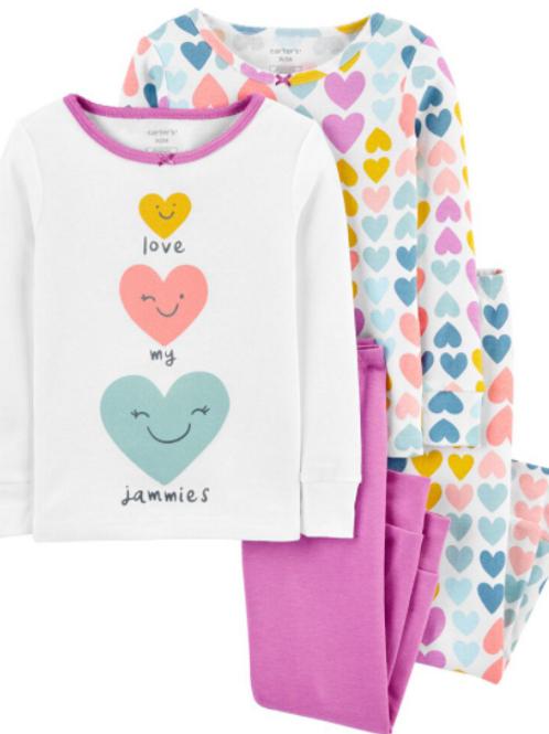 Pijama 4 Piezas Corazon Colores