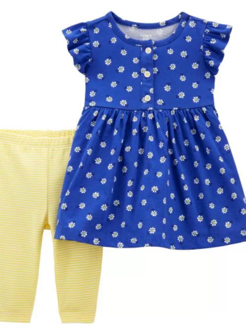 Set de 2  Piezas Vestido y Legging Amarillo