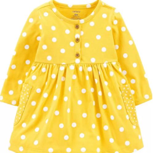 Set de 2 Piezas Vestido Amarillo Puntos