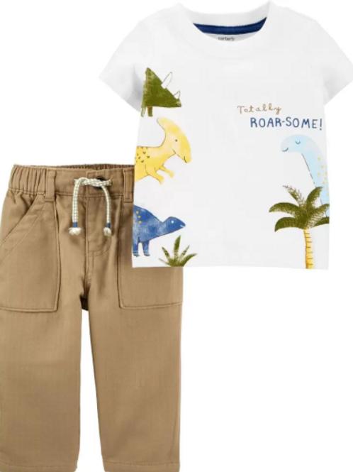 Set de 2 Piezas Pantalón Khaki y Camisa Dinosaurio