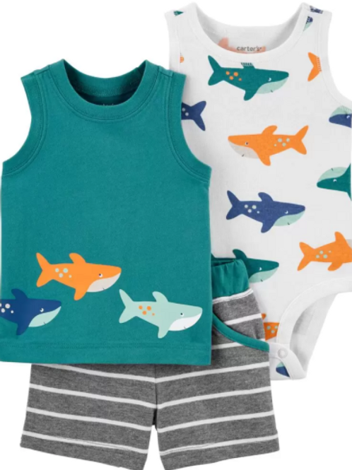 Set de 3 Piezas sin Manga Tiburón