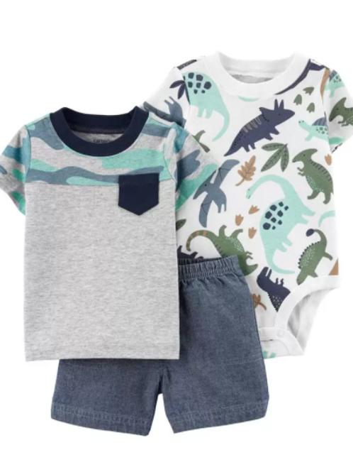 Set de 3 piezas Short  y camiseta Dinosaurios