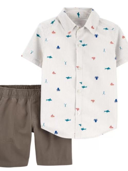 Set de 2 Piezas Short y Camisa Náutica