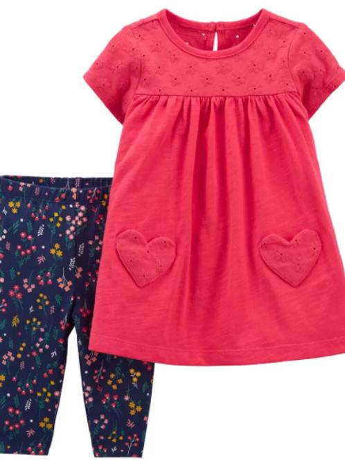 Set de 2 Piezas  Vestido y legging Corazón