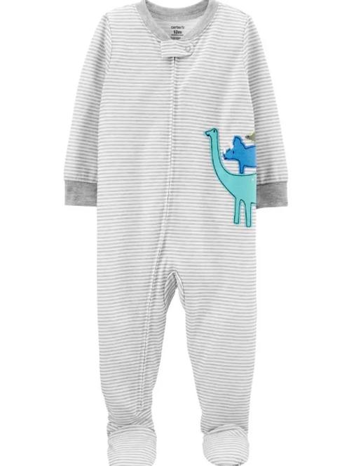 Pijama Algodón Rayas Gris