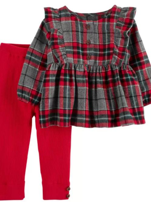 Set de 2 Piezas Blusa Cuadros Legging Rojo