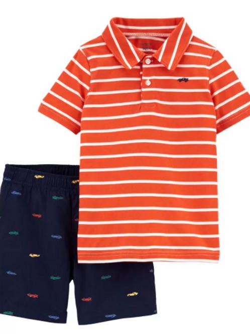Set de  2 piezas Short Azul  y Camisa Tipo Polo