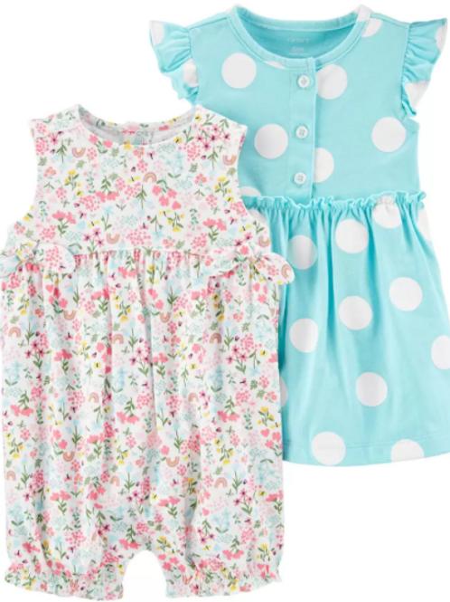 Set de 3 Piezas Vestido Puntos y Jumper Floral