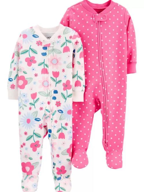 Set de 2 Pijamas Rosada Puntos yFlorcitas