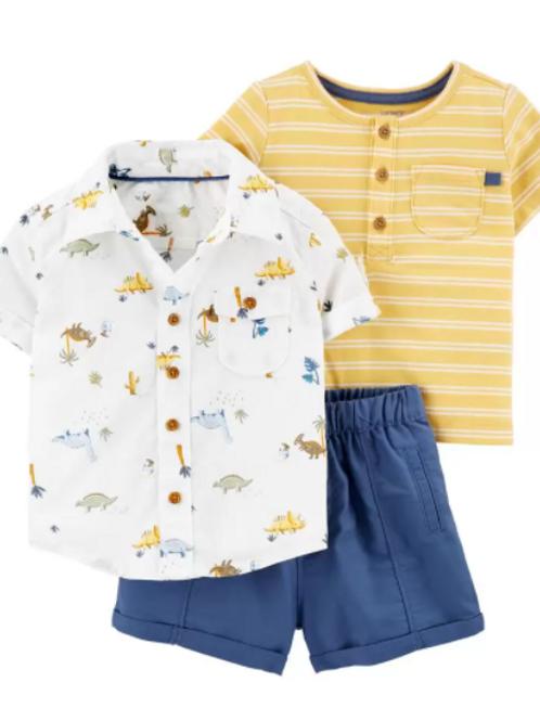Set de 3 Piezas Short y Camisa Dinosaurios