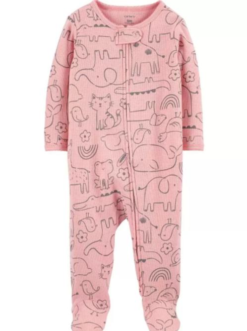 Pijama Algodón Animalitos Rosada