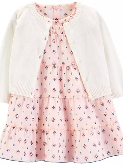 Set de 3 Piezas Vestido Rosado y Suéter Blanco