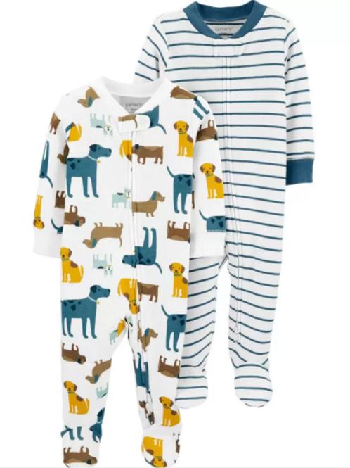Set de 2 Pijamas Perritos y Rayas