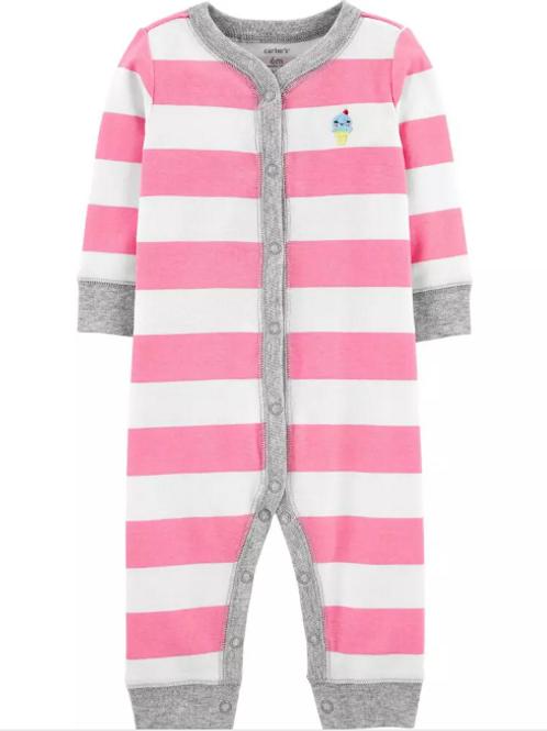 Pijama Algodón  Franjas Rosada