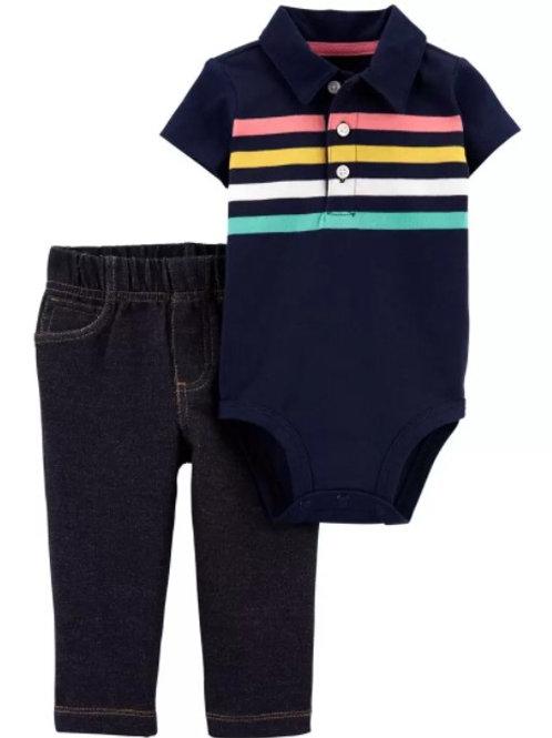 Set de 2 Piezas Pantalón y Mameluco Tipo Polo