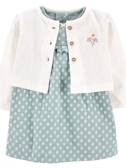 Set de 2 Piezas Vestido Mameluco Suéter Blanco