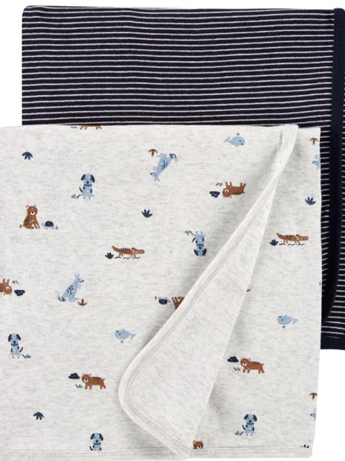 Set de 2 franelas Animalitos Talla Única 89x89cm