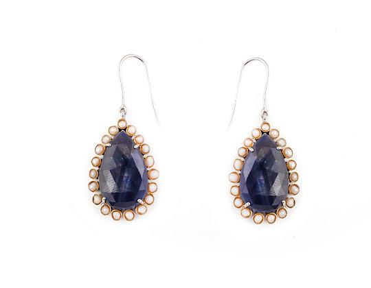 Blue Sapphire Pearl Earrings
