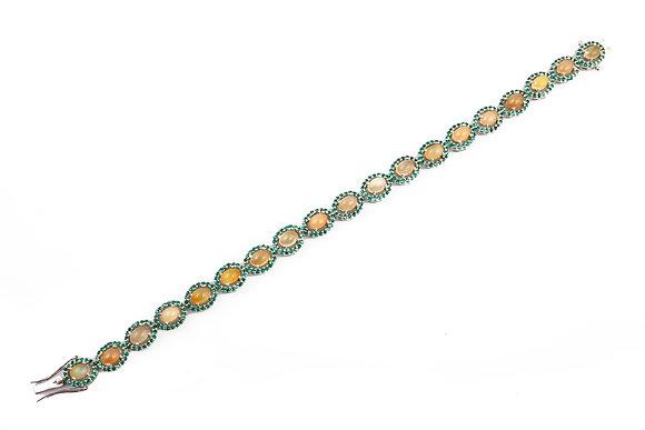 Natural Ethiopian Opal Green Topaz Bracelet