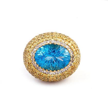 Blue Topaz Yellow Sapphire Ring