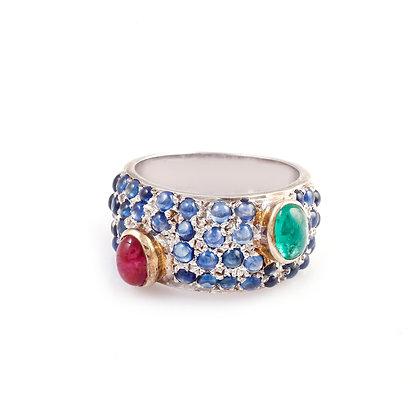 Ruby Emerald Sapphire Designer Ring