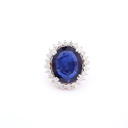 Magnificent Blue Sapphire Diamond Ring