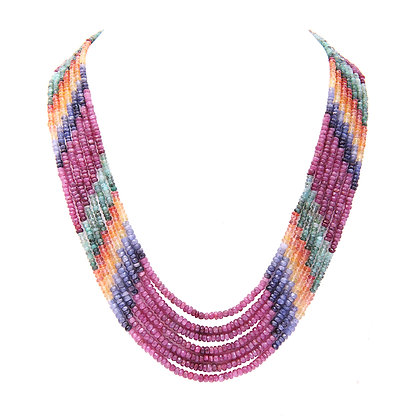 Precious Multi Sapphire Beads Necklace