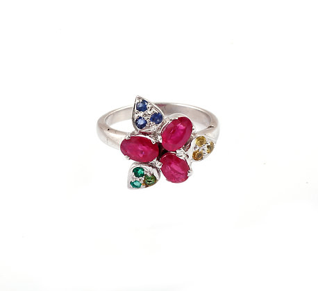 Ruby Emerald Sapphire Flower Ring