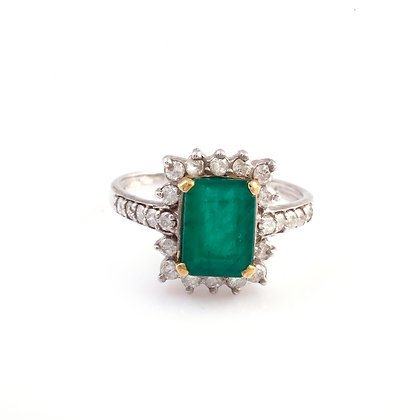 Emerald Diamond Designer Ring
