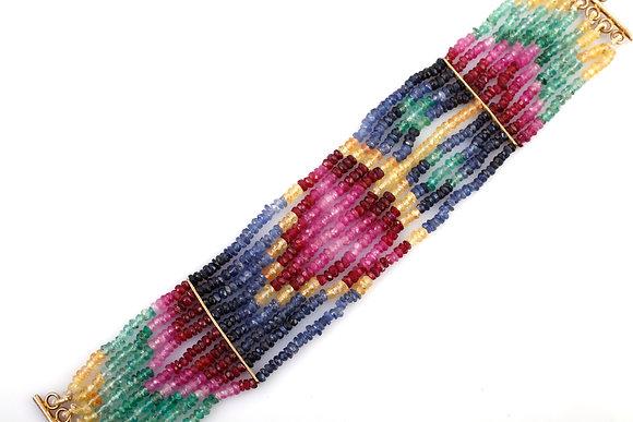 Natural Ruby Emerald Multi Sapphire Beads Bracelet