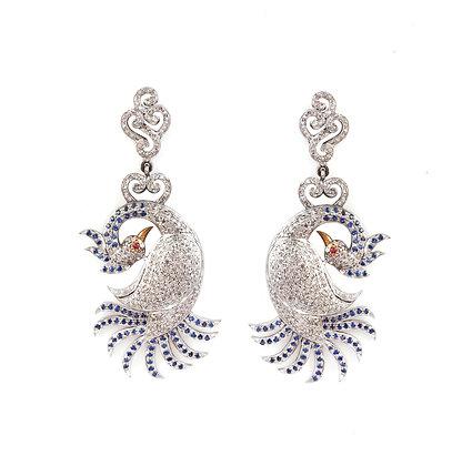 Diamonds Blue Sapphire Peacock Earrings