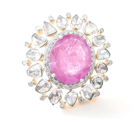 Polki Ruby Diamonds Designer Cluster Ring