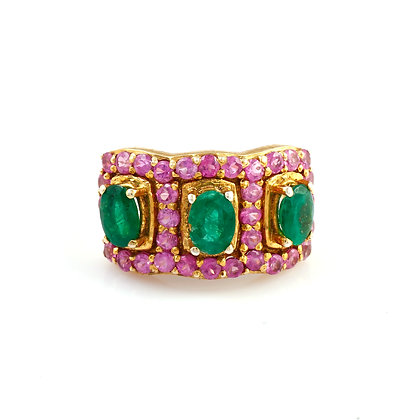 Emerald Ruby Designer Ring