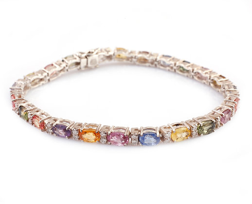 Natural Multi Sapphire Diamond Bracelet