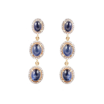 Blue Sapphire Diamonds Earrings