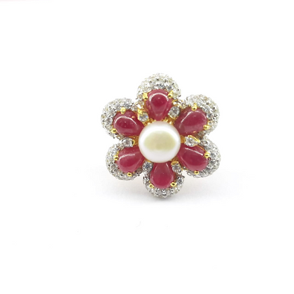 Ruby Diamonds 18Kt Gold Overlay Sterling Silver Ring