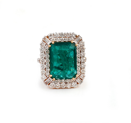 Emerald Diamond Cluster Handmade Ring