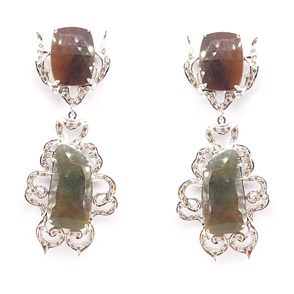 Natural Multi sapphire with Diamonds Earings