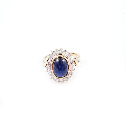 Blue Sapphire Diamonds Cluster Ring