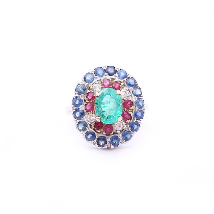Precious Emerald Ruby Sapphire Diamond Ring