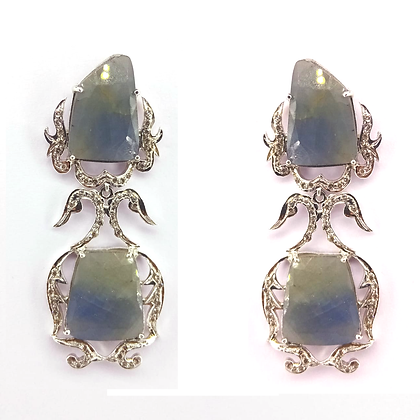 Natural Multi Sapphire With Diamond Earrings