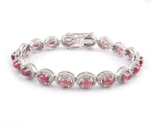 Pink Tourmaline Diamond Cabochon Bracelet