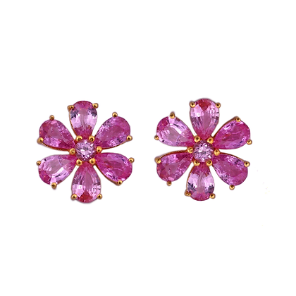 Beautiful Ruby Flower Earrings
